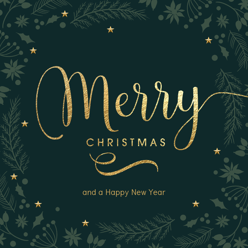 Kerstkaarten - Originele kerstkaart donker groen Merry goud