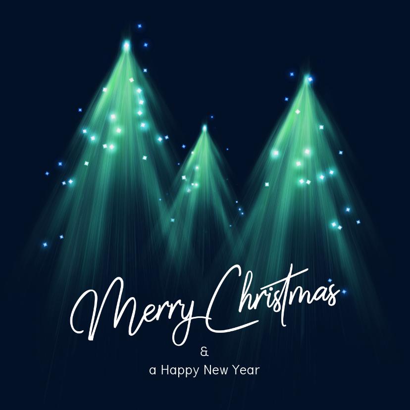 Kerstkaarten - Originele kerstkaart met kerstbomen en lichtjes