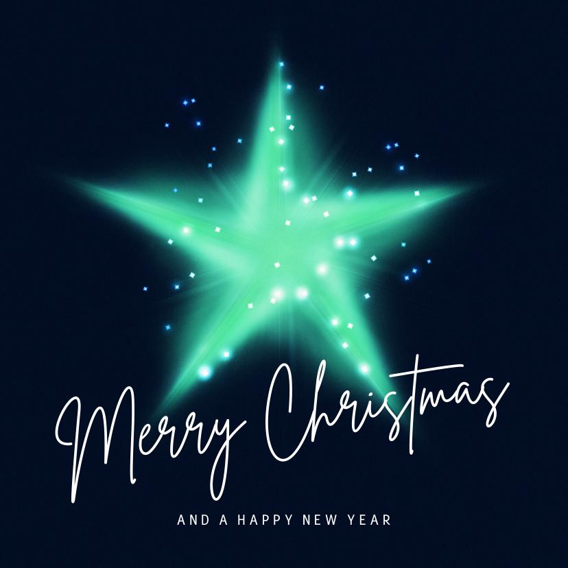 Kerstkaarten - Originele kerstkaart met ster en lichtjes