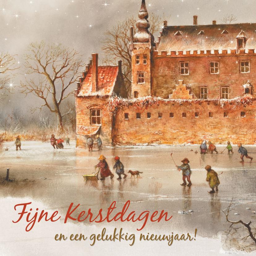 Kerstkaarten - Oudhollandse kerstkaart met kasteel in wintertijd