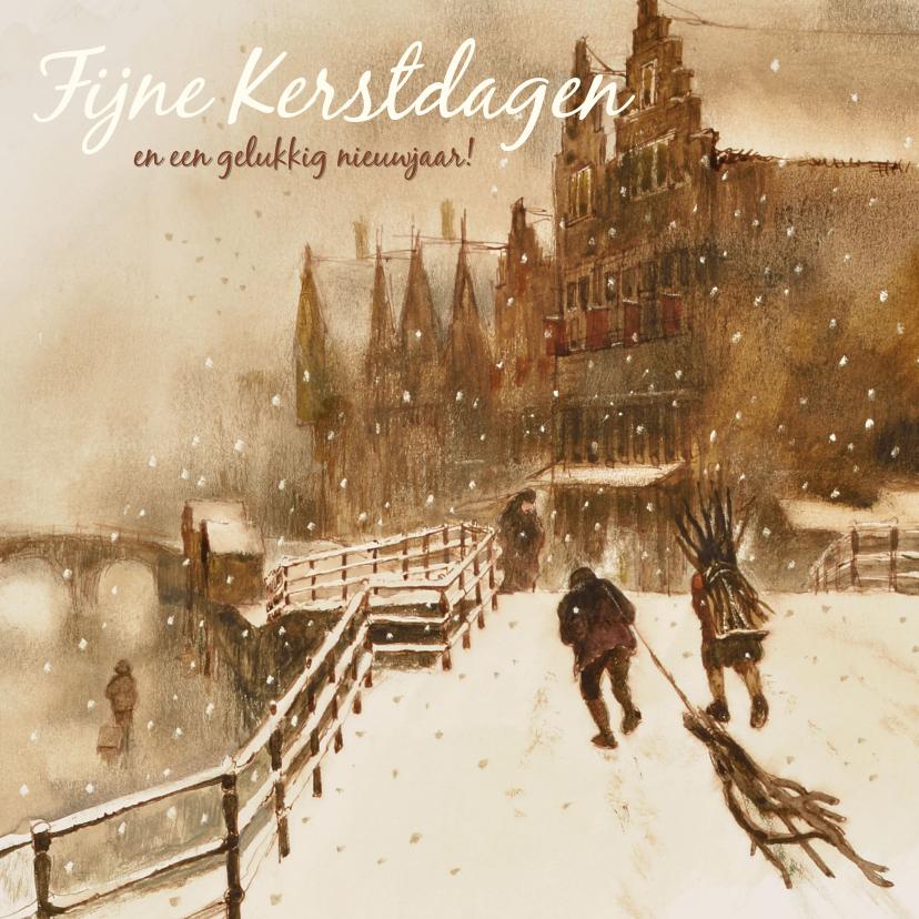 Kerstkaarten - Oudhollandse kerstkaart met wintertafereel