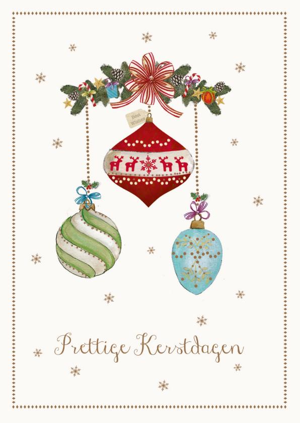 Kerstkaarten - Prettige kerstdagen kaart met kerstballen
