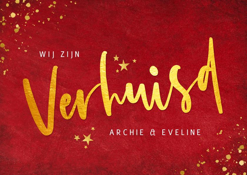 Kerstkaarten - Rode kerst verhuiskaart met goudlook tekst verhuisd