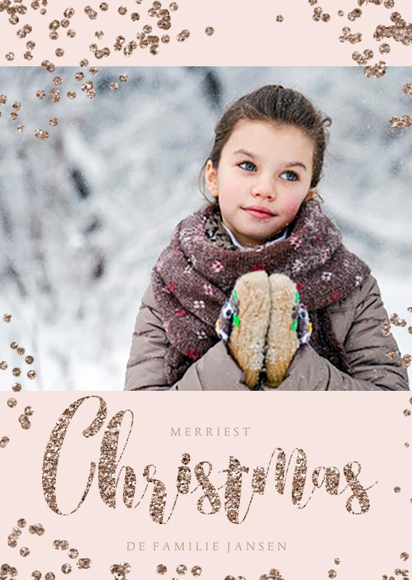 Kerstkaarten - Rose Gold Glitter Stippen