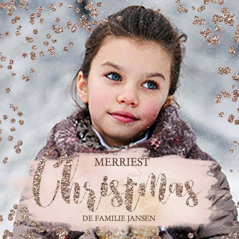Kerstkaarten - Rose Gold stippen glitter effect