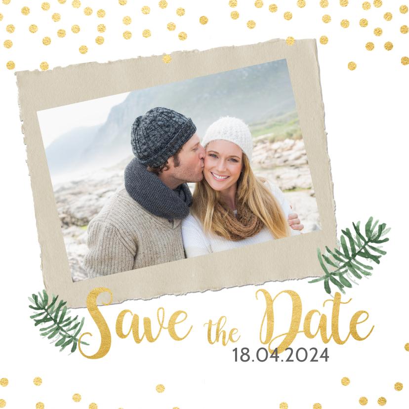 Kerstkaarten - Save the date kerstkaart met goud