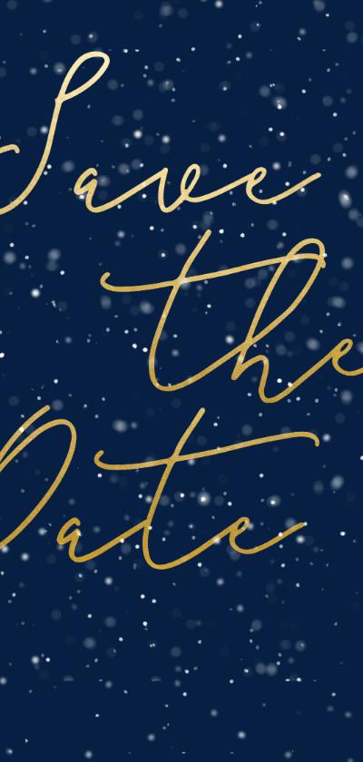 Kerstkaarten - Save the date kerstkaart met gouden tekst langwerpig
