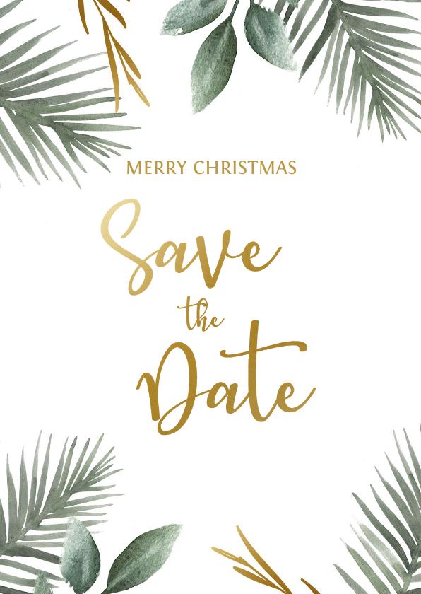 Kerstkaarten - Save the date kerstkaart met kersttakjes en gouden tekst