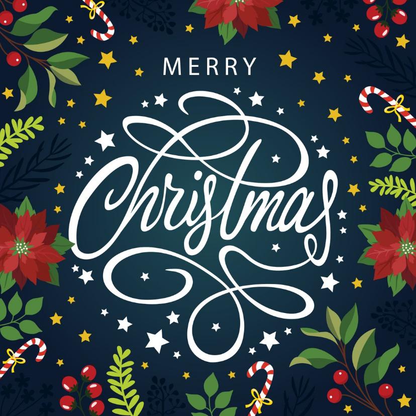 Kerstkaarten - Sierlijke Merry Christmas kerstkaart