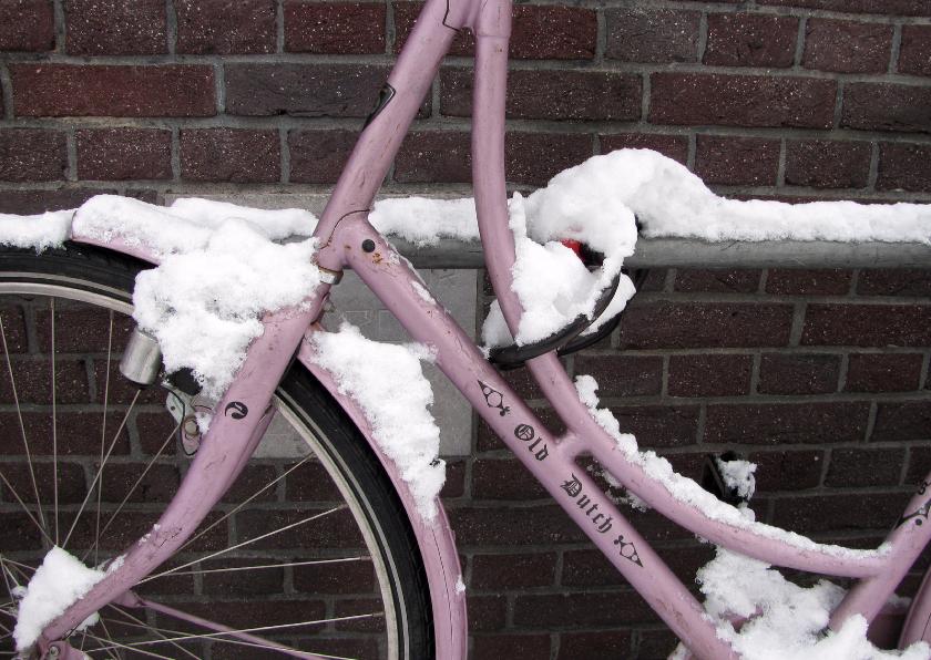 Kerstkaarten - Sneeuw Fiets