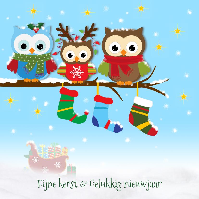 Kerstkaarten - Sneeuw, uiltjes en kerstsokken