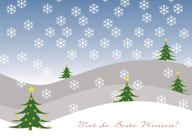 Kerstkaarten - Sneeuwlandschap kerstbomen