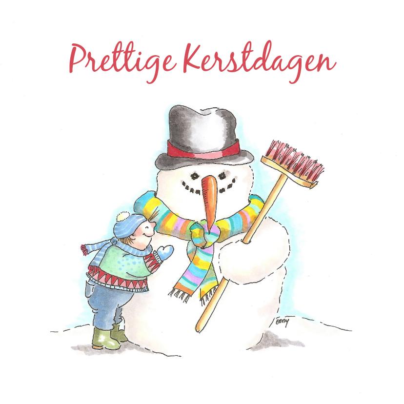Kerstkaarten - Sneeuwman met jongetje