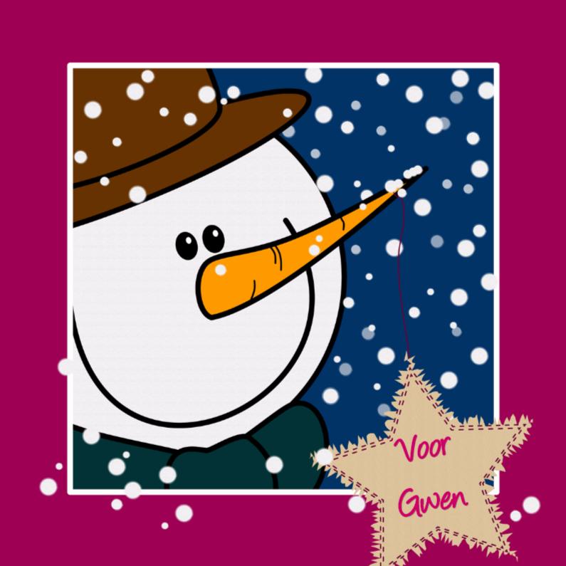 Kerstkaarten - Sneeuwpop in de sneeuw ROZE