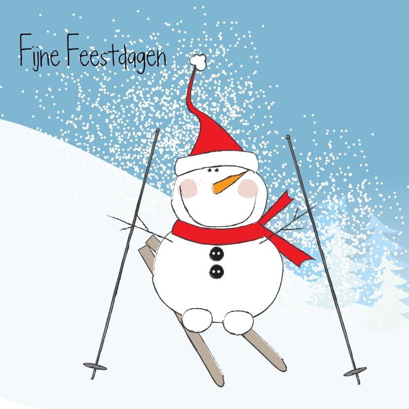 Kerstkaarten - Sneeuwpop ski