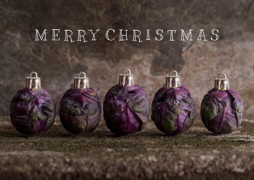 Kerstkaarten - Spruitjes kerstballen