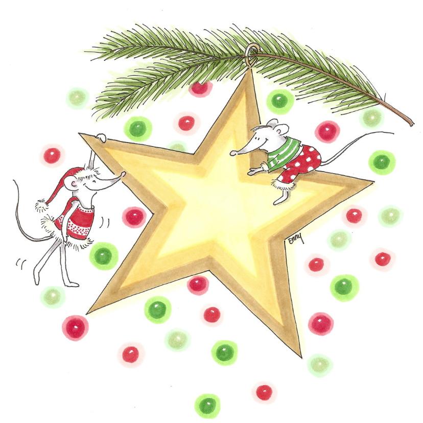 Kerstkaarten - Ster met muizen