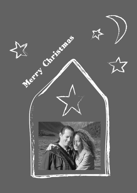 Kerstkaarten - sterrenhuisje grijs eigen foto