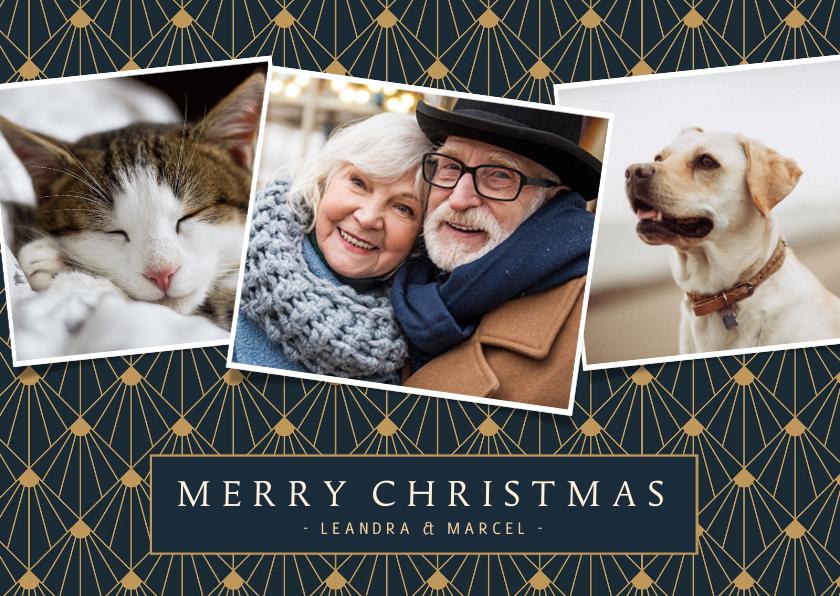 Kerstkaarten - Stijlvolle art-deco kerstkaart met 3 eigen foto's