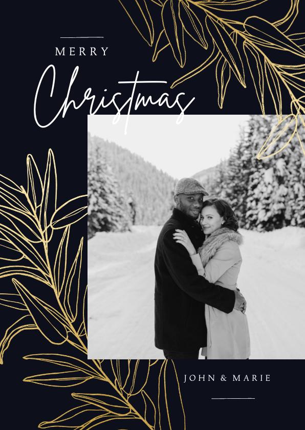 Kerstkaarten - Stijlvolle donkerblauwe kerstkaart met foto en gouden takken