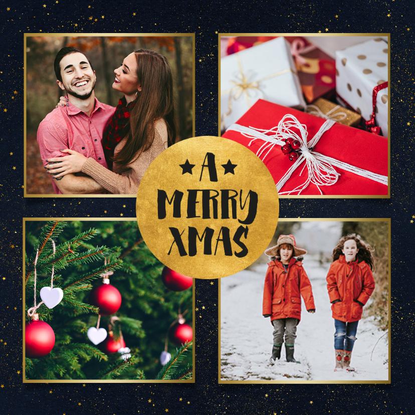 Kerstkaarten - Stijlvolle foto kerstkaart met gouden cirkel en typografie