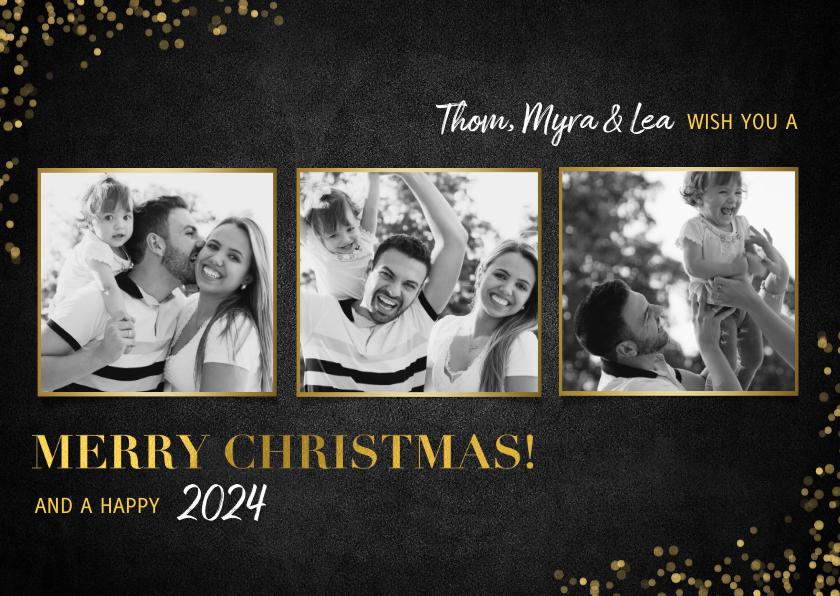 Kerstkaarten - Stijlvolle fotocollage kerstkaart gouden 'merry christmas!'