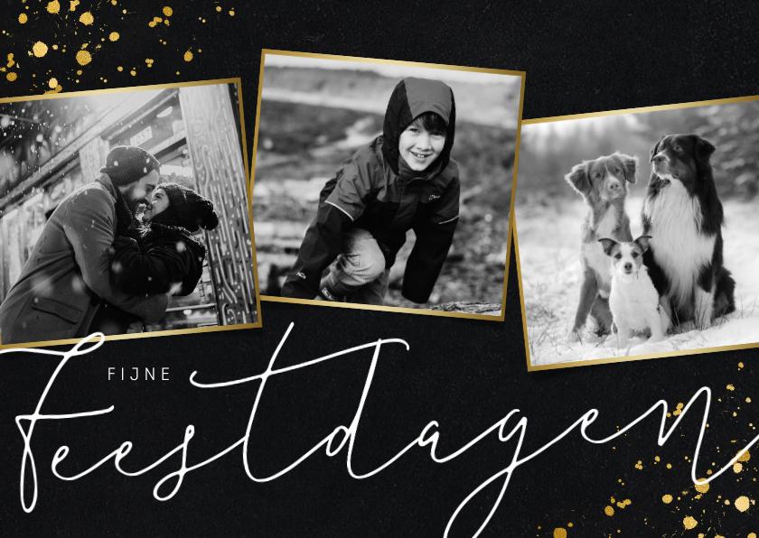 Kerstkaarten - Stijlvolle fotocollage kerstkaart met zwart/wit foto's