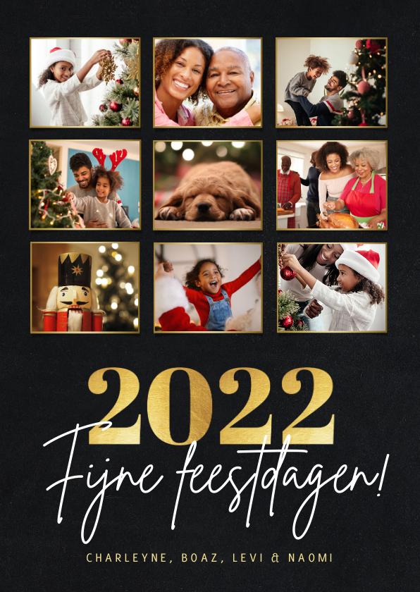 Kerstkaarten - Stijlvolle fotocollage kertskaart met foto's en gouden 2022