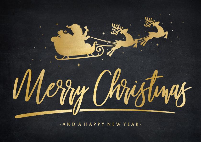 Kerstkaarten - Stijlvolle hippe kerstkaart met gouden kerstman in arrenslee