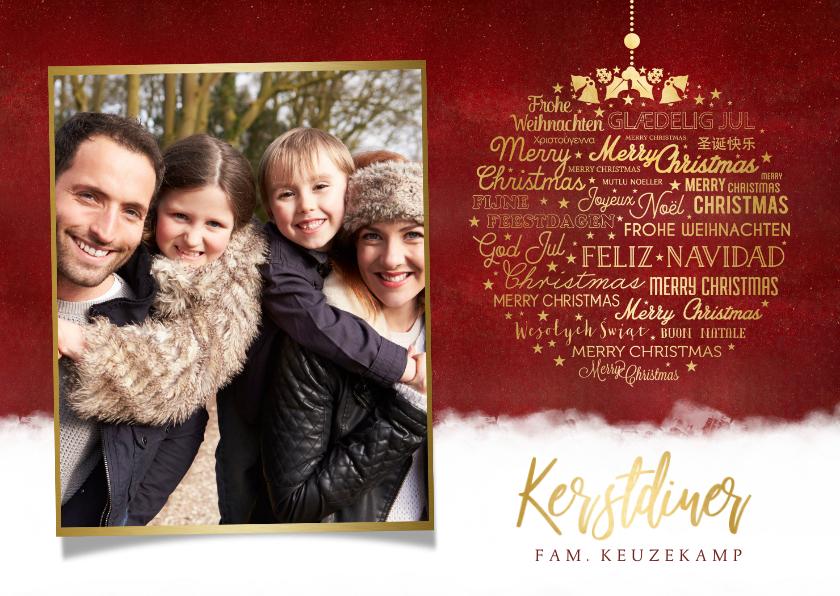 Kerstkaarten - Stijlvolle kerstdiner uitnodiging met ruimte voor eigen foto