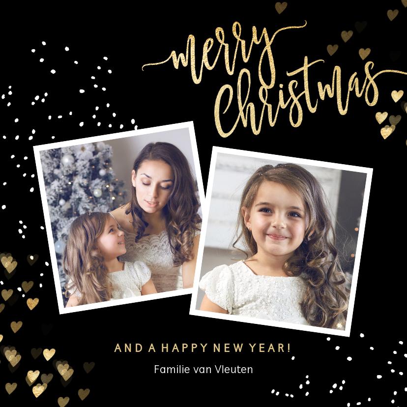 Kerstkaarten - Stijlvolle kerstkaart 2 foto zwart goud hartjes