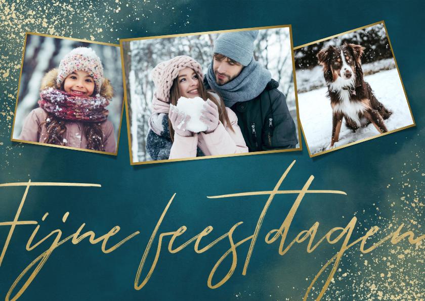 Kerstkaarten - Stijlvolle kerstkaart fotocollage, Fijne feestdagen & sneeuw