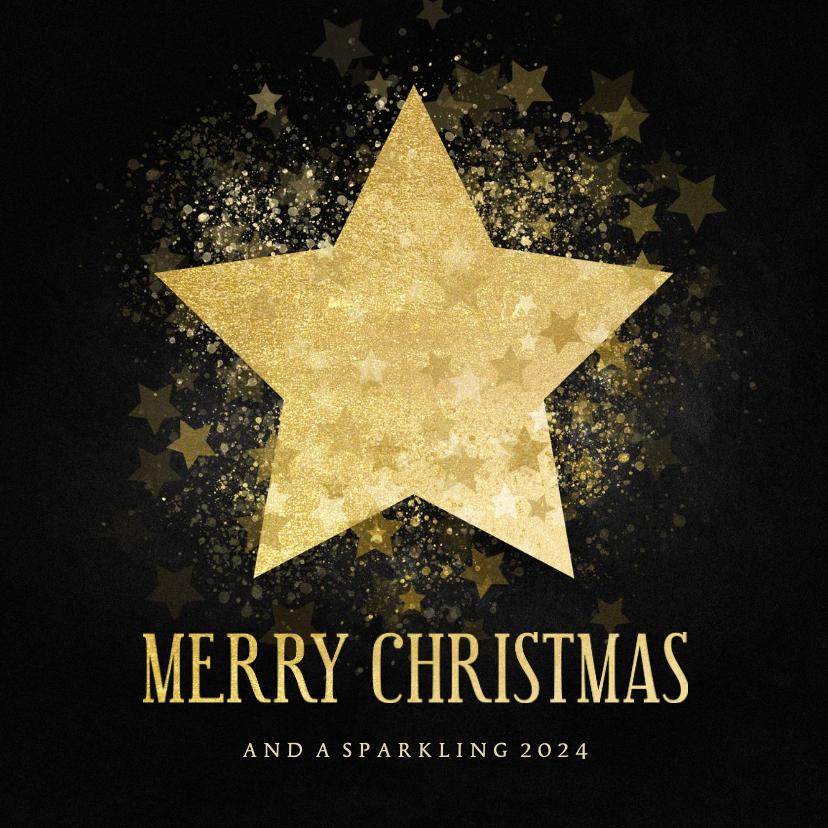 Kerstkaarten - Stijlvolle kerstkaart gouden ster Merry Christmas