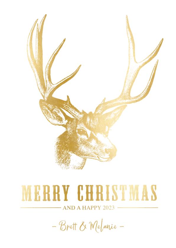 Kerstkaarten - Stijlvolle kerstkaart met een gouden hert illustratie