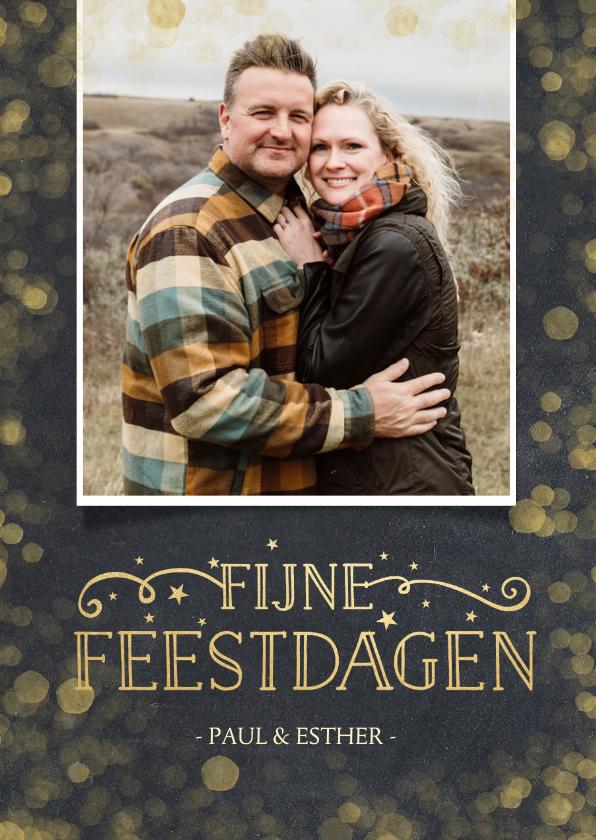 Kerstkaarten - Stijlvolle kerstkaart met een krijtbord achtergrond en goud