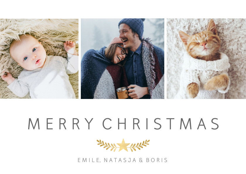 Kerstkaarten - Stijlvolle kerstkaart met fotocollage met 3 foto's en takje