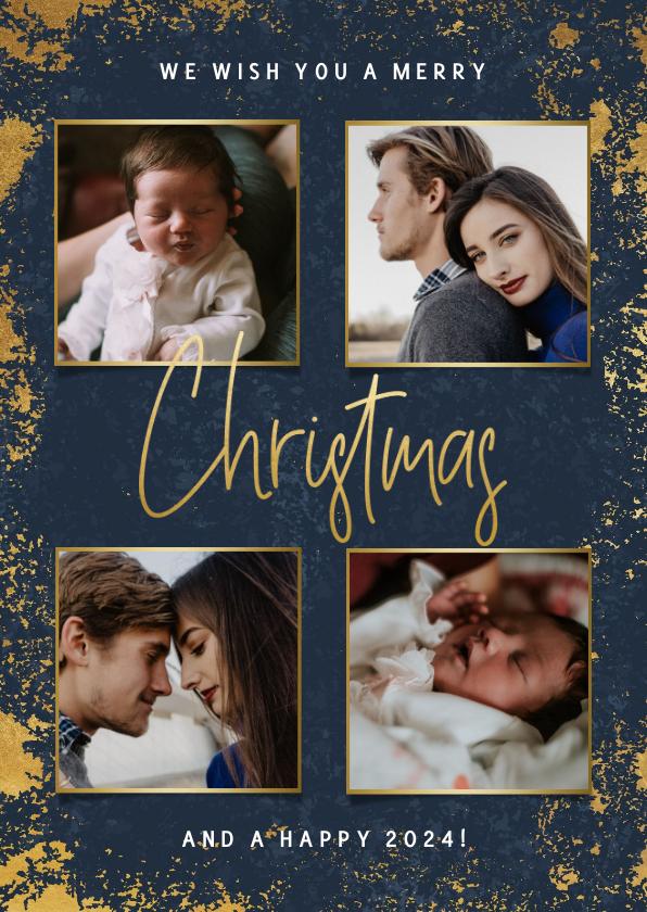 Kerstkaarten - Stijlvolle kerstkaart met foto's, gouden kader en Christmas