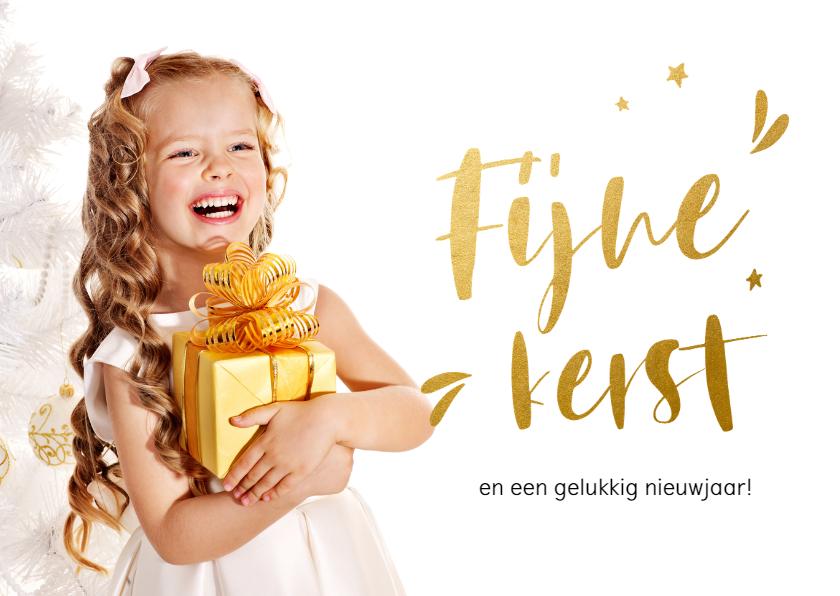Kerstkaarten - Stijlvolle kerstkaart met goudlook letters en sterretjes