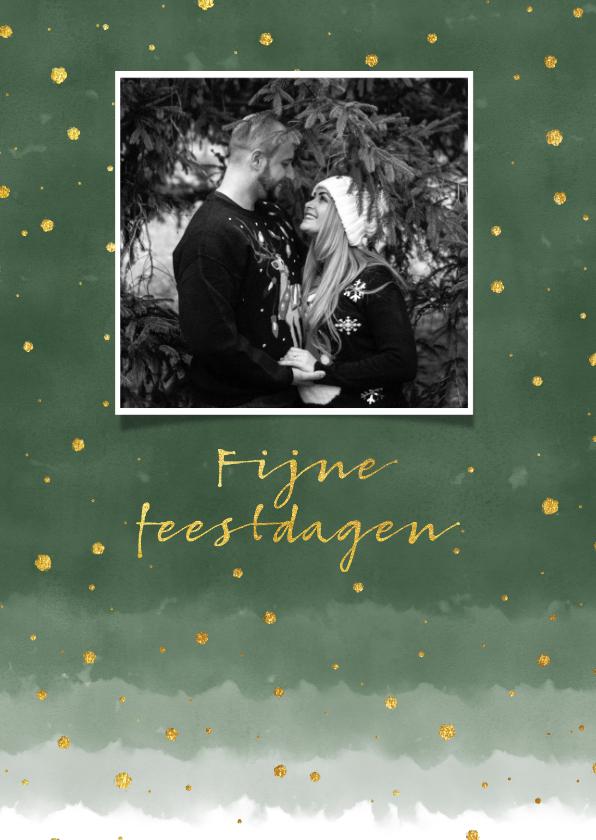Kerstkaarten -  Stijlvolle kerstkaart met groene waterverf en confetti