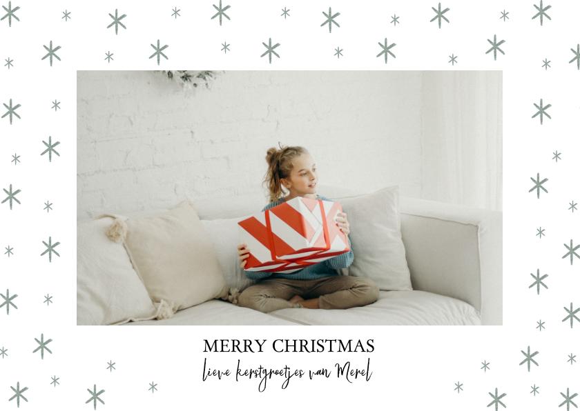 Kerstkaarten - Stijlvolle kerstkaart met sterren en grote foto