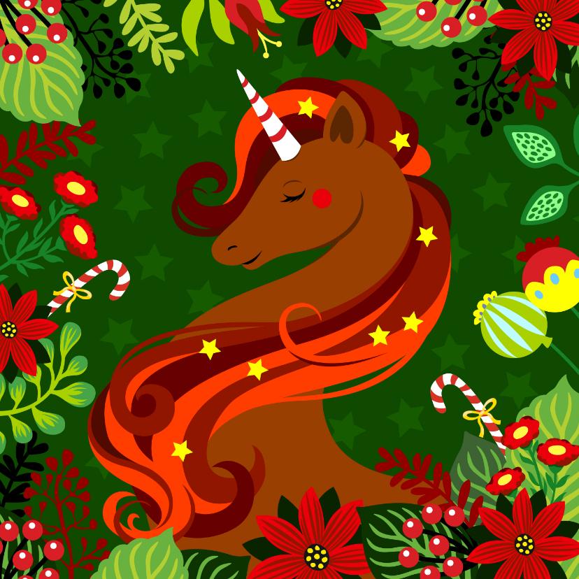 Kerstkaarten - Stijlvolle kerstkaart met unicorn, bloemen en zuurstokken