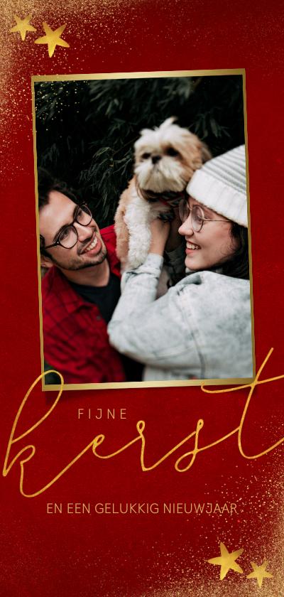 Kerstkaarten - Stijlvolle lange kerstkaart met grote foto en goudlook