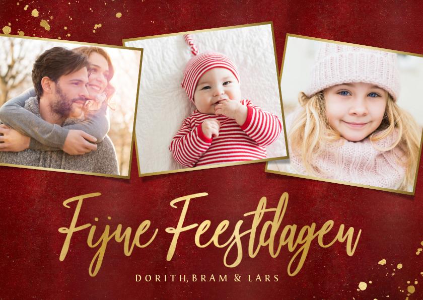 Kerstkaarten - Stijlvolle rode fotocollage kerstkaart met gouden tekst