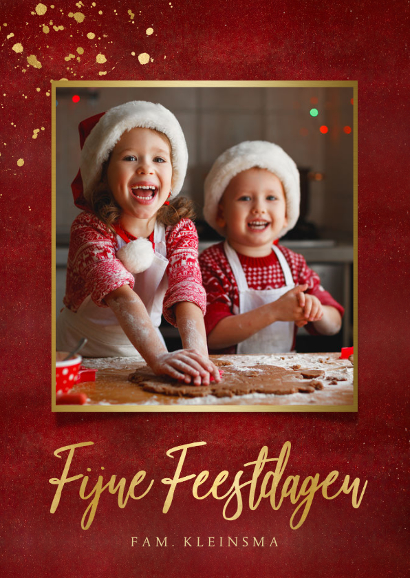 Kerstkaarten - Stijlvolle rode kerstkaart met eigen foto en gouden tekst