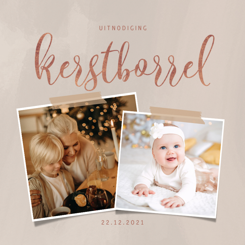 Kerstkaarten - Stijlvolle uitnodiging kerstborrel in roségoud en 2 foto's