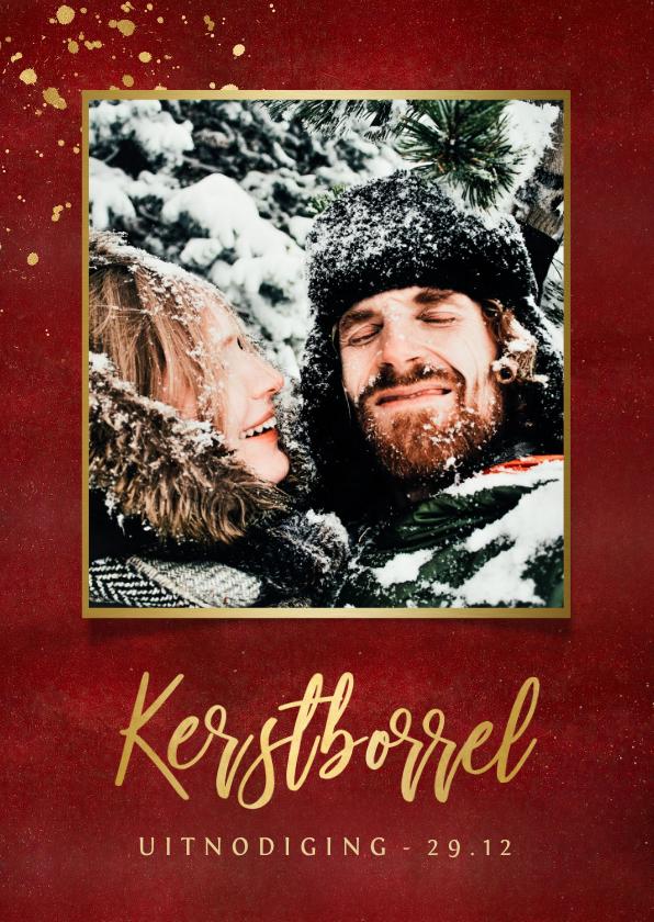 Kerstkaarten - Stijlvolle uitnodiging kerstborrel warmrood met goudlook