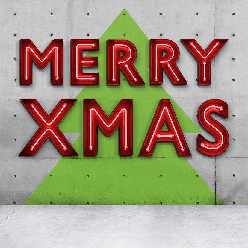 Kerstkaarten - Stoere vierkante kerstkaart met neon letter