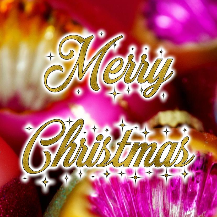 Kerstkaarten - Trendy kerstkaart fleurig kerstbalkleur