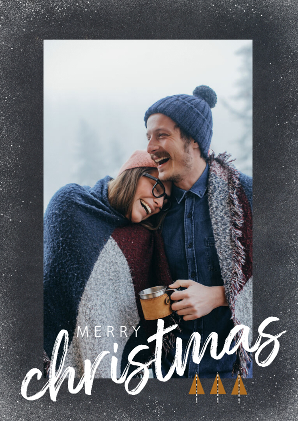 Kerstkaarten - Trendy kerstkaart met foto en merry christmas