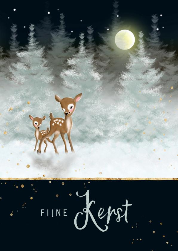 Kerstkaarten - Twee hertjes in besneeuwd landschap